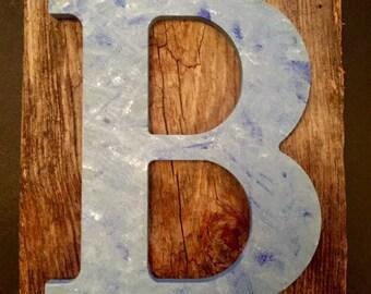 Favorite letter on reclaimed rustic barn wood from Kansas