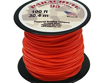Neon Orange Parachute Cord, 1.9mm, Parachute Cording, 100-Feet