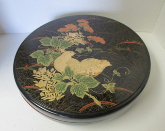 Vintage Jewelry Dish Lazy Susan Tray / Black with Birds divided Dish