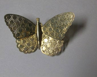Vintage Gold Tone Butterfly Brooch / Costume Jewelry / Estate Jewelry