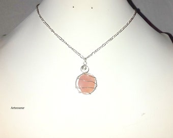 Pendant necklace silver gemstone Opal Andean wire wrapping plated figaro chain