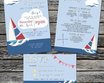 Nautical Printable Wedding Invitation set. Seaside, Boat & Bunting, Custom, Personalised Invites. Coastal Wedding invites. Sailing Wedding.