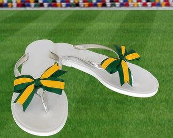 Green + Yellow Bow Jelly Sandals