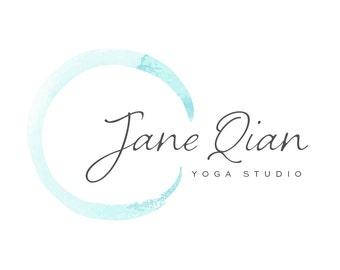 Logo Design Branding Package Premade Graphics Custom Text Zen Aqua Blue Turquoise Enso Watercolor Circle