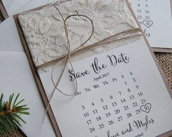 Save the Date, Lace Save the Date, Rustic Save the Date, Eco Save The date,