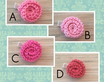 Crochet Rolled Rose Hair Clips