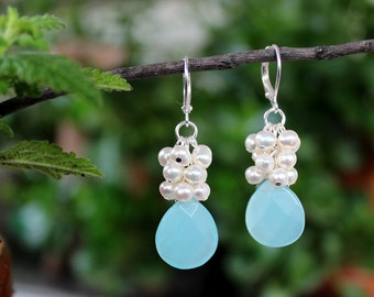 Multi Gemstone Cluster Earrings.Aqua Chalcedony Dangle Earrings.White Pearls.Sterling Silver plated.Statement.Bridal.Sky Blue. Handmade.