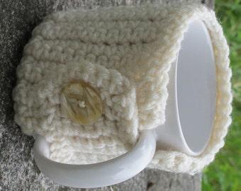 Cream Crochet Mug Cozy With Button Ready to Ship