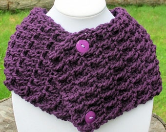 Crochet Waffle Stitch Cowl Scarf Neckwarmer With Buttons In Eggplant Purple Ready to Ship