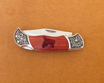 Laser Engraved Mule Sillhouett Rosewood Knife