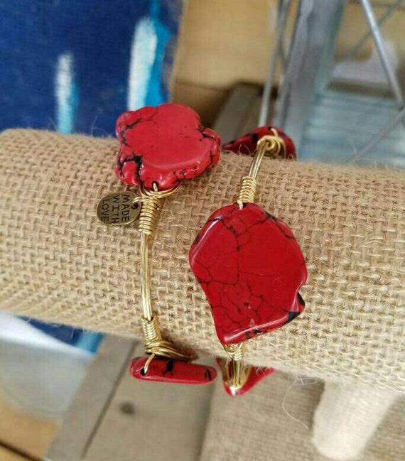 Red slab bangle, Red howlite, Red, white, and blue, summer, 4th of July, jewelry,bracelets, gemstone bangles, stackable stone bangles