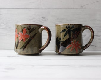 Pair of 2 Vintage Stoneware Coffee Mugs | Boho Bohemian Style Kitchen