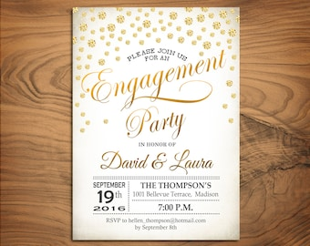 Engagement Party Invitation / Engagement Dinner Invite / Printable / Gold White / Diamonds / Digital Printable Invitation / Customized