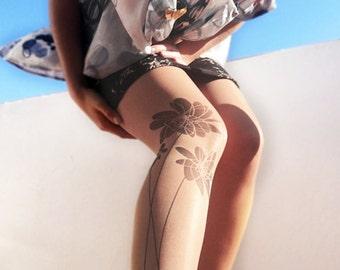 Flower tattoo tights, stockings tights