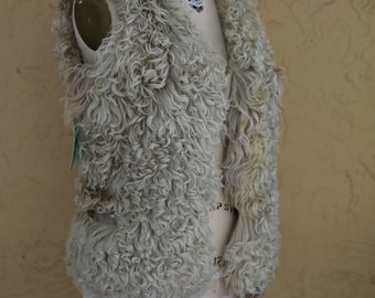 Vintage 1960s 1970s Boho Hippie Mongolian Tibetan Curly Lamb Fur Vest Gilet