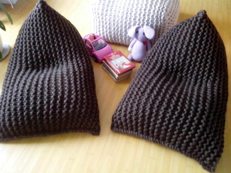 Chunky wool knit brown kids bean bag / Bean bag chair by GieMarGa