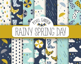 Rain Digital Paper. Raindrop, Umbrella, Could Patterns. Umbrellas & Rain Boots Scrapbook Background. Mint Autumn, Fall Rain Digital Paper.