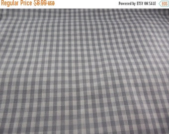 "ON SALE Gray & White Gingham Checked Cotton Fabric 45"" X 70"""