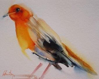 Original watercolor bird robin 3