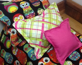 """Doll bedding for 18"""" dolls, owl russian nesting doll,  4 pieces, colorful comforter set, 3 pillows, reversible bedding"""