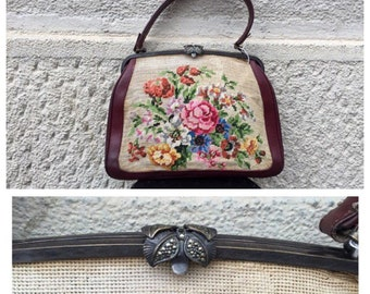 20/30s Hand Embroidered Cotton and Leather Arazzo Bag, Marcasite Closure