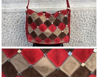 60/70s Patchwork and Studs Red Suede Leather Bag