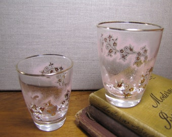 Retro - Pink Mist - Juice Glass - Gold Accent - Set of Two (2)