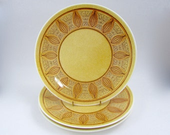 Vintage Taylor Smith & Taylor Plates, Honey Gold, Set of Three, Ironstone Dinner Plates