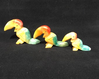 3 Vintage Toucan Bird Figurines Mexican Marble Hand Carved Birds Set of Three 1980s