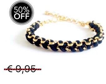 Black woven chain bracelet