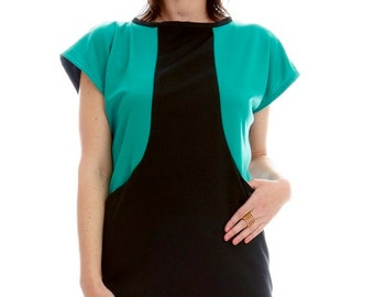 Black and Green Modern Color Block Dress w/ Pockets/Comfortable/Made in USA