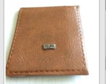 Tan Leather Trifold Mens Wallet-- High Quality Feel & Design!