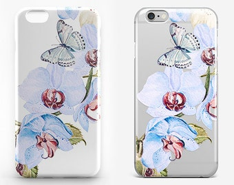 Butterfly Phone Case Clear iPhone 7 Plus Flower iPhone 6 Case Transparent iPhone 7 Cover iPhone SE Case Floral Galaxy Case Flower iPhone 4-5