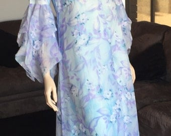 Vintage Long Blue Floral Boho Gown with Hankerchief Sleeves