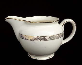 Vintage creamer milk cream jug pitcher VILLEROY BOCH 7204 France Germany ivory gilding frieze gold ribbon geometric striped triangle jar pot