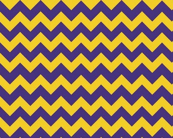 Purple and Gold Small Chevron on White Fabric by Riley Blake