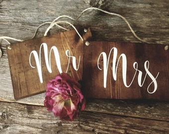 Mr and Mrs Chair Signs | Wedding Decorations | Wedding Photo Prop