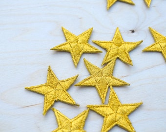 1 Dozen Tiny Gold Embroidery Star Patches with Fine Metallic Thread. Iron on Backing 2""