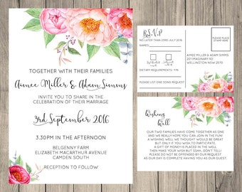 Floral Wedding Invitation Printable, Wishing Well Card, RSVP Card, Wedding Suite