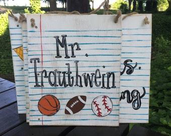 Teacher Coach Sports Name Sign