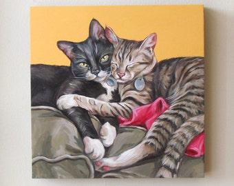 Cat Portrait, 2 pets on a 12x12 wooden canvas board using acrylic, pet memory, cat sympathy, pet loss, cat memorial gift