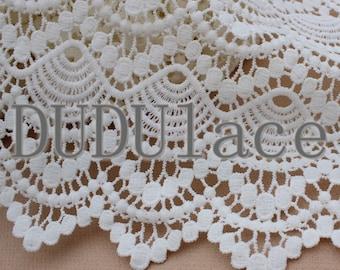 White Scallop Shell Lace Fabric Crochet Lace Fabric 1 Yard S0280