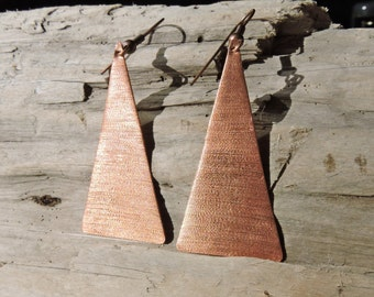 Handcrafted geometric copper triangle earrings