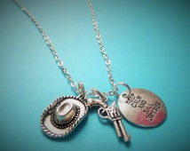 THE WALKING DEAD Rick / Carl inspired silver charm necklace - Fan Gift- Xmas - keep calm & kill zombies 20mm tag