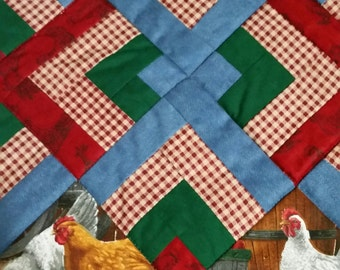Quilted Chicken Placemats Set of 4