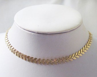 Gold choker necklace, chocker , thick choker necklace, collar necklace, chevron choker necklace, fish bone necklace , boho choker necklace