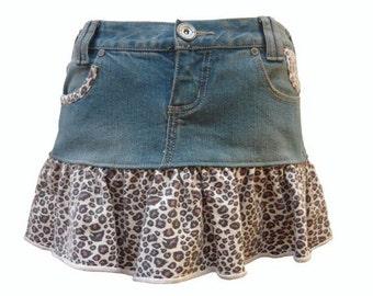 Leopard Print Ruffle Upcycled Short Denim Skirt