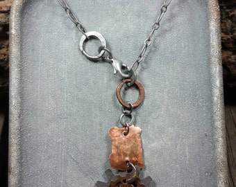 Steampunk Hammered Oxidized Copper Gear Necklace