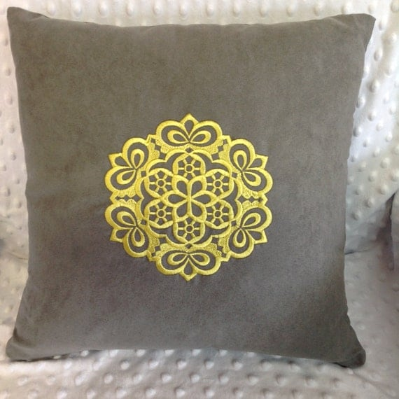Yellow Embroidered Throw Pillows : Gray Yellow Embroidered Throw Pillow Cover Grey by elkcreekquilts
