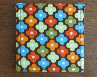 Fabric coasters, set of four, retro mod design on 100% cotton, 70's design